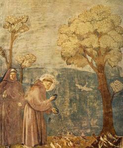 Franciscus preekt voor de vogels.