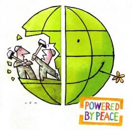Vrede, cartoon van Len Vredesweek 2012