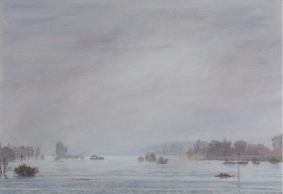 Bocht IJssel in de mist M Kranendonk