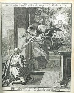 Jesaja VI 6-7 - Jesaias lippen met eene gloeiende koole aangeroert